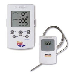 "Maverick - Remote Smoker Thermometer - Maverick Remote Smoker Thermometer Monitor internal temperature of smoked meats from 100 feet away. Wireless receiver with LCD beeps and flashes when smoked meat temperature goes above your programmed temperature. Monitor smoking chamber temperature. Receiver beeps and flashes if smoking chamber temperature falls out of your programmed range. Count-Up and Count-Down Timer. LCD of receiver has back light for use at night. Receiver has belt clip and built in stand. Heat-resistant food probe wire can be inserted 6"" into meat. Transmitter has removable wire stand that also becomes a hanger. Can be used with oven or grill too. 4 AAA batteries included."