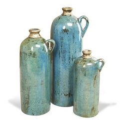 Interlude - Jamari Vases - Ocean - Set of three vases in ceramic with silver accents on teal reactive glaze.