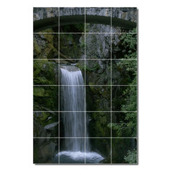 Picture-Tiles, LLC - Waterfalls Photo Backsplash Tile Mural 4 - * MURAL SIZE: 25.5x17 inch tile mural using (24) 4.25x4.25 ceramic tiles-satin finish.