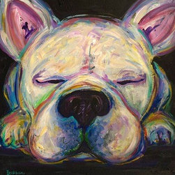 """Dreaming Of Bacon"" (Original) By Amanda Beckham - Here We Have A Portrait Of A Little Sleeping Frenchie. I Just Love These Little Characters.  What Is He Dreaming Of? Bacon, Perhaps?"