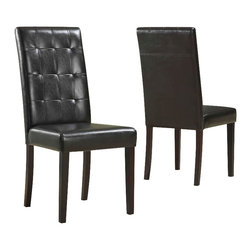 Modus Furniture - Modus Urban Seating Tufted Leatherette Parson Chairs in Chocolate (Set of two) - Modus Furniture - Dining Chairs - 2E0866BT - Urban Seating collection provides stylish affordable seating and storage options throughout the home. Great around a table in a foyer a game room or a den chairs are engineered for easy assembly using durable 9 bolt grooved corner block construction.Features: