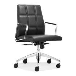 Zuo Modern - Zuo Modern Controller Low Back Office Chair Black - Low Back Office Chair Black belongs to Controller Collection by Zuo Modern Office Chair (1)