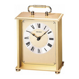 "Seiko - Seiko QHG102GL Executive Carriage Clock Multicolor - QHG102GL - Shop for Clocks from Hayneedle.com! Just like every good song every good table needs a brass section. Take your table to the next level with the Seiko QHG102GL Executive Carriage Clock. This lovely table clock features a beautiful brass base and top glass-covered face and classic style. One ""AA"" battery included. About SeikoOver its 120 year history as a maker of fine timepieces the Seiko name has become synonymous with cutting edge technology ultra-precision constant innovation and refinement. Millions worldwide rely on Seiko wristwatches to keep them on schedule. Two generations have grown up thrilling to Olympic and World Cup competitions where victory or defeat is defined within a fraction of a second all overseen by Seiko timekeepers. Seiko's far-reaching modern empire has its roots in a humble Tokyo clock repair shop opened by Kintaro Hattori in 1881 nearly a century before the introduction of its first landmark wristwatch. Today Seiko continues to offer a wide array of clocks and movements for any home including wall alarm desk mantel musical and heirloom quality decorative pieces. Beautiful on the outside quality components on the inside Seiko products will serve you for years to come."