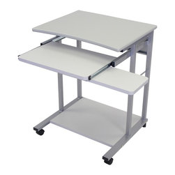 Luxor Furniture - Single Person Computer Workstation - Four 2 in. furniture casters, two with locking brake. Pullout tray and mouse shelf. Light gray steel frame. Made from wood laminate. Pullout tray: 24 in. L x 19 in. W. Overall height: 29 in.. Warranty. Assembly Instructions