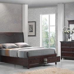 Acme Furniture - Gallagher Walnut Finish 5 Piece King Bedroom Set - 20467EK-5Set - Set includes Eastern King Bed, Dresser, Mirror, Nightstand and Chest