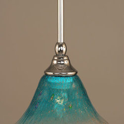Toltec Lighting - Chrome Stem Mini Pendant with Teal Crystal Glass - - 7-Inch Teal Crystal Glass  - Bulbs not included  - Comes with 1-6-Inch, 2-12-Inch, and 1-18-Inch stem sections  - Comes with a hang straight swivel Toltec Lighting - 23-CH-458