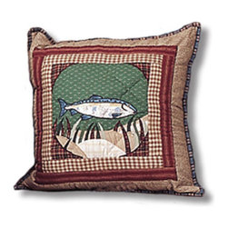 Patch Quilts - Gone Fishing Toss Pillow 16 x 16 Inch - Decorative applique Quilted Pillow Bed and Home Ensembles and Bedding items from Patch Magic   - Machine washable  - Line or Flat dry only Patch Quilts - TPGOFIFI