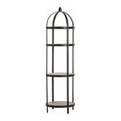 Arteriors - Denison Étagère By Arteriors - Etageres have unlimited uses around the house, from displaying collectibles or plants to housing pretty bathroom or kitchen accessories. This one's round, black iron frame with finial top, reminiscent of an antique birdcage, is both stylishly versatile and easy to fit into corners.