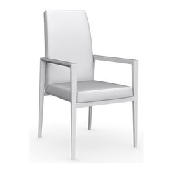 Calligaris - Bess Gummy Leather Arm Chair, Matt Optic White Frame,  Optic White, Set of 2 - Seat Frame Supported By Elastic Belts