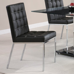 "Coaster - Rolien Collection Dining Chair in Black, Set of 2 - Set the mood for a modern mealtime. The Rolien dining room collection features a 12mm tempered glass top with a center black accent strip. plush blsck vynil seating with white accented stitching.; Contemporary Style; Rolien Collection; Finish: Chrome; Fabric Color: Black; Some assembly required.; Dimensions: 24.5""L x 18""W x 35.5""H"