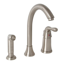 Premier Faucet - Premier Sanibel  Single Handle Kitchen Faucet  Brushed Nickel - Lead Free - Refresh your kitchen decor with Premier Sanibel's single-handle kitchen faucet with a matching side sprayer. The cathedral-style, high-arc spout adds a dramatic visual impact and provides exceptional height and coverage. Premier's ceramic disc cartridge prevents hard water buildup and offers consistent, leak-free performance. Add an optional soap dispenser (Premier 552029, sold separately) for four-hole sink applications. This Sanibel kitchen faucet features a single lever handle for precise temperature and volume control, lead-free brass construction, a flow rate of 2.2 gallons per minute, a brushed nickel finish, and a color matched sprayer with a 48-Inch reinforced hose. It complies with the requirements of the Uniform Plumbing Code and the Americans with Disabilities Act. It is covered by Premier's industry-leading Limited Lifetime Warranty. This faucet has been certified to meet the strict lead-free standards of California and Vermont.