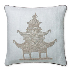 Jonathan Adler - Jonathan Adler Luxembourg Pagoda Beaded Pillow - Preppy decorator icons mixed with neoclassical flair make for a cool touch of Chinoiserie chic. Our Luxembourg Beaded Pillows feature soft textural linen in a neutral icy blue hue and densely hand-sewn glass beads to add twinkle to your home. Each pillow begins with artisans lightly stenciling an outline of our designs onto the linen then sewing the beads in directional patterns for depth in the design. All in all, a truly handcrafted pillow fit for a wide range of interiors.• hand-dyed linen with silver glass beads• hidden zipper• feather/down insert
