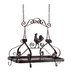 iMax - iMax Coq au Vin Pot Rack X-9171 - Brown metal hanging pot rack with country kitchen rooster