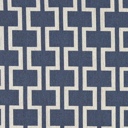 Blue and Off White Contemporary Geometric I's Upholstery Fabric By The Yard - This contemporary fabric is an excellent choice for all indoor upholstery! In addition to looking like linen, this material is woven for enhanced appearance and durability.