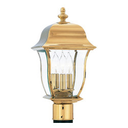 """Designers Fountain - Designers Fountain 1556-PVD-PB 3 Light 10"""" Post Lantern Solid Brass PVD from the - Features:"""