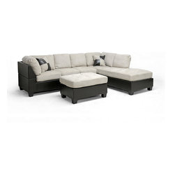 Baxton Studio - Baxton Studio Mancini Modern Sectional Sofa and Ottoman Set - The eye-catching union of sleek faux leather with soft microfiber is the highlight of this versatile sectional sofa, and rightly so!  Dark brown faux leather upholsters the sofa frame and all cushions are covered in soft gray-beige microfiber.  The backrest cushions are removable and feature Velcro attachments to keep them in place as you,nge as does the metal connectors between the sofa and chaise.  The backrests of the sofa and chaise must be attached and are shipped unassembled for more secure transit.  The legs are dark brown plastic and feature non-marking feet.  Two matching throw pillows are included with purchase.  Malaysian-made, this sectional sofa set requires assembly and should be spot cleaned.  This style is also available in the reverse configuration (sold separately).