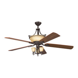 Kichler Lighting - Kichler Lighting 380001OZ Olympia 3 Light Fan Light Kits in Olde Bronze - This 3 light Fan Light Kit from the Olympia collection by Kichler will enhance your home with a perfect mix of form and function. The features include a Olde Bronze finish applied by experts. This item qualifies for free shipping!