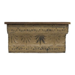 """IMAX - Small Claremore Shelf - Small weathered pine shelf with embossed design. Item Dimensions: (13.75""""h x 26""""w x 8"""")"""