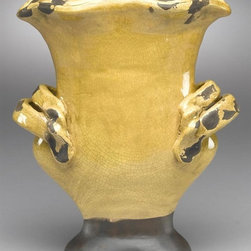AA Importing - Planter in Yellow - Glazed finish. Pictured in Yellow. 9 in. D x 5 in. W x 11 in. H