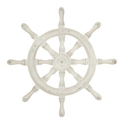 Silver Nest - Captains Wheel Wall Sculpture- 28x28 - Ivory washed ship's wheel relief is mounted to a driftwood finish dimensional plaque. 28x28.