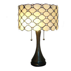 Warehouse of Tiffany - Tiffany-style Modern Table Lamp - Give your home a bright new finish with this Tiffany style table lamp. Featuring a classic design, this lamp will give your decor a chic touch of elegance. This unique barrel-shaped lamp will become a favorite accessory and lighting piece in your home or office.