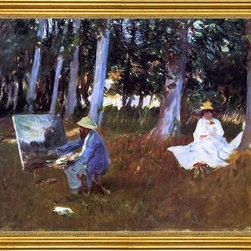 """John Singer Sargent-16""""x20"""" Framed Canvas - 16"""" x 20"""" John Singer Sargent Claude Monet Painting by the Edge of the Woods framed premium canvas print reproduced to meet museum quality standards. Our museum quality canvas prints are produced using high-precision print technology for a more accurate reproduction printed on high quality canvas with fade-resistant, archival inks. Our progressive business model allows us to offer works of art to you at the best wholesale pricing, significantly less than art gallery prices, affordable to all. This artwork is hand stretched onto wooden stretcher bars, then mounted into our 3"""" wide gold finish frame with black panel by one of our expert framers. Our framed canvas print comes with hardware, ready to hang on your wall.  We present a comprehensive collection of exceptional canvas art reproductions by John Singer Sargent."""