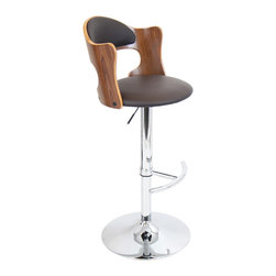 "Lumisource - Cello Bar Stool, Walnut + Brown Matte Pu - 20""L x 19""W x 37.5-42""H"