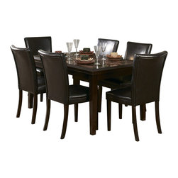 Homelegance - Homelegance Belvedere 7 Piece 60 Inch Dining Room Set - The beveled wood edge of these burnished espresso finished tables softens the transitional Belvedere collection. Inset display shelving and decorative faux marble inlay further compliment the design.