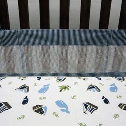 NoJo Ahoy Mate Secure-Me Mesh Crib Liner - Designed to match the Ahoy Mate nautical nursery theme, the NoJo Ahoy Mate Secure-Me Mesh Crib Liner was created to keep little arms and legs from going where they shouldn't go. This four-piece crib liner - with two long sides and two short sides is is made of a cotton/polyester blend and is machine washable.About NoJoOffering fashionable, safe, and reliable products throughout the United States for the past 40 years, NoJo's goal is to offer fashion-forward infant and toddler bedding, blankets, and accessories that meet the demands of today's modern lifestyle. NoJo puts not only style into their products, but comfort and safety, too.