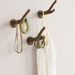 "Viva Terra - Branch Hooks (set of 3) - Cast from metal to look like real branches, our hooks help organizescarves, jewelry, robes and such, and (knock on wood!) they alsotranslate to any room in the house. Attach with two screws.2""W x 4""H x 5.5""D"