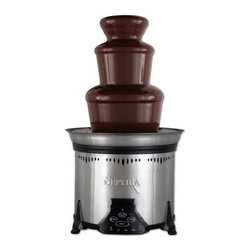 Sephra CF18M Elite Home Chocolate Fountain-Stainless Steel - The Sephra Elite Home Fountain in stainless steel is the ultimate accessory for every fondue lover and home entertainer. Elegant styling and dishwasher-safe parts, including a removable basin and Sephra's WhisperQuiet™ motor, make this the perfect addition to any special occasion.With a 6-pound capacity and programmed with four temperature settings, the Elite not only delivers a beautiful curtain of warm cascading chocolate, but can also be used for other fondue favorites, such as caramel, cheese, barbecue sauce, and even ranch dressing. The removable twist-off basin and QuickSet tiers allow for quick and easy setup and cleanup. Six metal, color-coded fondue skewers are included. 10.75W x 19H inches.Sephra Chocolate Fountains is the leading chocolate fountain manufacturer in the world. Sephra chocolate fondue fountains are known by food service professionals around the world for superior quality, features, and unmatched customer support. Sephra's determination to make the best chocolate fountains in the industry has made it the pioneer in the innovation of the chocolate fountain. Unlike other chocolate fountain manufacturers that make a variety of unrelated products, Sephra has the capacity and capability to make precision-engineered chocolate fountains that are superior to the competition in every way, setting the standard of quality and reliability for the rest to follow.How Much Chocolate Do I Need?20 guests or less: 4 lbs.20 - 50 guests: 8 lbs.50 - 100 guests: 12 lbs.100 - 150 guests: 16 lbs.150 - 200 guests: 20 lbs.Don't forget to order skewers!