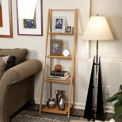 Danya B - Bamboo Ladder Shelf - Featuring a space-saving ladder design that easily fits in any room,this contemporary and foldable bamboo bookcase has four shelves that narrow down in size from bottom to top to display photo frames,books and other collectible or decorative items.