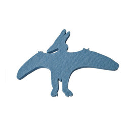 The Felt Store - Felt Dinosaur Decals - Sky Blue Pterodactyl - Have some fun with The Felt Store's Felt Dinosaurs! Bring imagination and dinosaurs back to life with these colourful dinosaur shapes. Great for kids to play with and learn from, these are soft, contemporary forms of our pre-historic friends. The felt dinosaur has an adhesive backing that will allow kids and adults to stick the dinosaurs on many different surfaces. The dinosaurs are made from 2mm Design Felt, which is 100% Merino Wool. The adhesive backing is reusable, removable and non-marking, allowing you to stick your dinosaurs in many different places over and over again! Each type of dinosaur measures from 3.5 inches to 4.5 inches long (89mm to 144mm) and from 5 inches to 7.5 inches wide (127mm to 191mm).