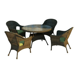 Forever Patio - Rockport 5 Piece Round Wicker Dining Set, Canvas Parrot Cushions - The vintage design of the 5 Piece Rockport Dining Set (SKU FP-ROC-5DN-CN-CP) will give any outdoor dining space an elegant atmosphere. The set seats 4 adults and includes 4 lounge chairs and a dining table with a glass top. The round Chestnut wicker strands in this set give it a warm, traditional look designed to last. Every strand of this wicker is made from High-Density Polyethylene (HDPE) and is infused with its rich color and UV-inhibitors that prevent cracking, chipping and fading ordinarily caused by sunlight. The set is supported by thick-gauged, powder-coated aluminum frames that make it extremely durable and resistant to corrosion. Also included are cushions covered in fade- and mildew-resistant Sunbrella fabric.