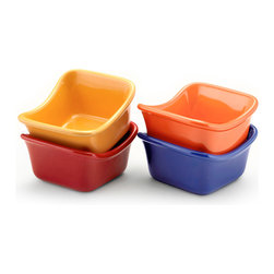 Rachael Ray Lil' Saucy Square Dipping Cups 3 Oz. Set of 4 - Spice up your party with the Rachael Ray Lil' Saucy cups to accommodate all your dippin' needs. These colorful and contemporary serving pieces are cute and add a splash of color to any table.Product Features                        Multiple Use Stoneware - Dishwasher  microwave  freezer safe and oven safe to 500 DegreesF for convenience and versatility. The glazed interior is nonporous so foods won't interact            Contemporary Design - Contemporary  playful shape in a vibrant and fun color goes directly from oven to table            Flared handles all you to get a good grip from any angle            Capacity - 3 Oz.