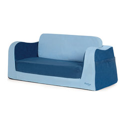 P'kolino - Little Sofa/Sleeper, Blue - Nap in a snap! This special sofa is bound to become your child's favorite snuggle zone and reading retreat — gotta love those big book pockets! Plus, it folds easily into a comfy sleeper, thanks to high-density foam covered in super soft fabric.