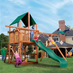 Leopard's Lair - With the introduction of the Leopard's Lair, your hunt for the perfect playset is over. This swing set has it all - starting with, the option of a 5 foot or 6 foot deck.