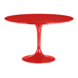 Zuo Modern - Wilco Dining Table Red - The Wilco table echoes some of the great Mid-century design with its tulip base and bevel edge round top. Its top is glossy painted MDF and its base is glossy coated fiberglass.