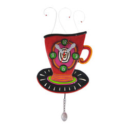Allen Designs - Allen Designs Wake Up Cup Pendulum Wall Clock Coffee - This whimsical coffee cup pendulum clock is called 'Wake Up Cup' and is by Allen Designs. Made of cast resin, this clock features curled wire beaded 'steam' coming out of the top of the cup, and has a silver spoon swinging back and forth at the bottom of the pendulum. The clock is hand-painted and coated in polyurethane to keep the colors bright and give it a glossy look. It measures 16 inches high, including the pendulum, and is 7 1/2 inches wide. The clock runs on a single AA battery. It's a must-have for coffee lovers.