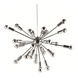 Fine Mod Imports - 24-Light Spark Hanging Chandelier - Bulbs not included. Requires twenty four 40 watt E12 type bulbs. Contemporary style. Warranty: 1 year. Silver color. No assembly required. 23 in. L x 23 in. W x 23 in. H (15 lbs.)