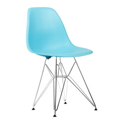 Eiffel Slope Chair in Aqua - Our Eiffel Slope Chair is inspired by an iconic design of the 1950s and 1960s. The original was born out of technological advancements that allowed a chair to be constructed out of a single mold of fiberglass. With the original mold no longer in production, today's designers have improved this process even further, resulting in a comfortable, stylish, lightweight chair. Replacing fiberglass with more eco-friendly polypropylene, the current iteration is as innovative as it is timeless. The base is made of chromed steel and resembles the structure of the famed Eiffel Tower. Our Eiffel Slope Chair takes this incredible design and makes it accessible and modern, featuring a smooth polypropylene seat that contours to your body. This chair is also one of our most versatile pieces, fitting in at the dinner table, conference table, or anywhere else you're looking to add some seating.