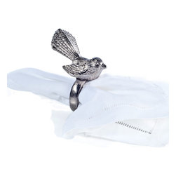Rojo16 - Aluminium Bird Napkin Ring - Your guests will sing with delight at the sight of these adorable napkin rings. Darling little birds perched atop durable aluminum rings. This sweet set of six will add a festive element to your table.