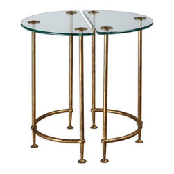 Matthew Williams - Matthew Williams Aralu Side Tables X-73342 - Each a hand-crafted work of forged iron, these half-circle tables stand together or apart, gleaming in antique gold with a secured, tempered glass top.
