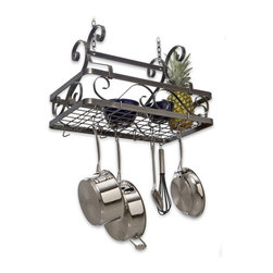 Enclume - Decor Basket Rack - Perfect for medium-sized and smaller kitchens, this Enclume Decor line hanging basket stores all your kitchen essentials - and more! It installs in mere minutes and lasts for years. Solid steel frame, attractive scrolled sides and grid surface separate this item from the competition. * Stores all kitchen essentials. Rectangular shape. Holds a multitude of items form the practical cookware lids and bowls to plants and other kitchen complements. Made from steel. 25 in. L x 15 in. W x 23 in. H. Includes mounting instructions. Minimal assembly required. Solid frame and attractive scrolled sides. Grid surface separate this item from the competition. decor collection