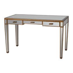 Worlds Away - Worlds Away - Vivien 3 Drawer Mirrored Desk/Vanity - Vivien G - Worlds Away - Vivien 3 Drawer Mirrored Desk/Vanity - VIVIEN G