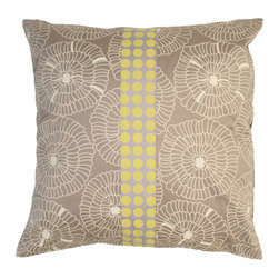Kouboo - Lily Silk Pillow Cover, Gray Color - The colors and patterns of your decorative pillows make them one of the most expressive elements of your home style. The motive is delicately printed onto Thai silk, where producing and weaving silk is a century old tradition. The refined patterns, colors and the shimmer are perfect for embellishing sofas or chairs, or incorporated into any bedroom decor.