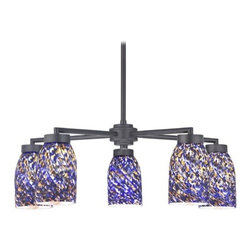 Design Classics Lighting - Black 5-Light Modern Chandelier with Blue Art Glass - 590-07 GL1009D - Contemporary / modern matte black 5-light chandelier with dome glass shades. Includes one 6-inch and three 12-inch down rods that allow this chandelier to hang at a minimum height of 17-3/4-inches up to a maximum of 53-1/8-inches. Takes (5) 100-watt incandescent A19 bulb(s). Bulb(s) sold separately. UL listed. Dry location rated.