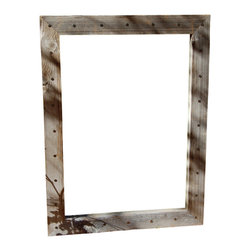 MyBarnwoodFrames - Rustic Mirrors Bunkhouse Barn Wood Mirror with Tacks, 20x24 - Rustic  Mirrors  With  Country  Charm  -  Bunkhouse  Style  Barn  Wood  Mirror  with  Tacks,20x24          Rustic  Mirrors  handcrafted  from  natural  barn  wood  are  our  specialty.  We  especially  like  this  unique  mirror  which  features  a  wide  3.5  inch  barnwood  frame  face.  We've  added  distressed  nail-head  tacks  all  the  way  around  the  outside  of  the  wood  frame,  which  makes  this  a  unique-looking  mirror  that  adds  character  and  charm  to  your  western  rustic  or  primitive  decor.          The  mirror's  exterior  dimensions  are  20x24  inches,  and  you  can  hang  your  mirror  either  horizontally  or  vertically.          This  mirror  can  be  manufactured  in  custom  sizes.  Please  call  888-OLD-BARN  for  a  quote.