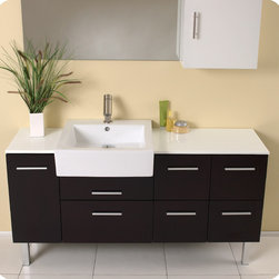 "Fresca - Fresca Serio 55"" Espresso Single Sink Vanity Set w/ Mirror & Side Cabinet - This handsome middle of Midtown Manhattan showroom floor vanity completes any setting with an espresso finish and chrome hardware and a large ceramic white basin. This no nonsense ensemble is perfect for any location with room to spare. It has a super sleek look and feel and features a mirror and a side cabinet. Many faucet styles to choose from. More optional side cabinets are available."
