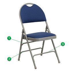 Flash Furniture - Flash Furniture Hercules Series Extra Large Navy Fabric Metal Folding Chair - This Triple Braced Plush Comfort Hercules Folding chair provides superior support and comfort. This portable folding chair can be used for Parties, Graduations, Sporting Events, School Functions and in the Classroom. This chair will be the perfect addition in the home when in need of extra seating to accommodate guests. When no longer needed, simply fold away as a compact storage solution. This economically priced chair will endure some heavy usage with an 18-gauge steel frame, triple braced and leg strengthening support bars. [HA-MC705AF-3-NVY-GG]